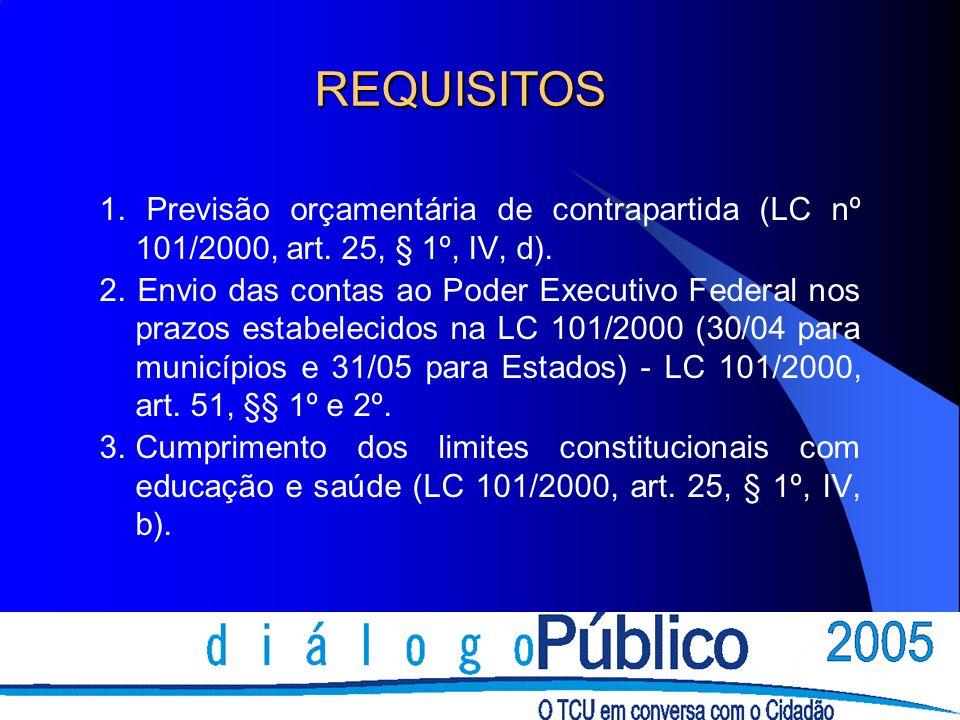 REQUISITOS 1. Previsão orçamentária de contrapartida (LC nº 101/2000, art. 25, § 1º, IV, d).
