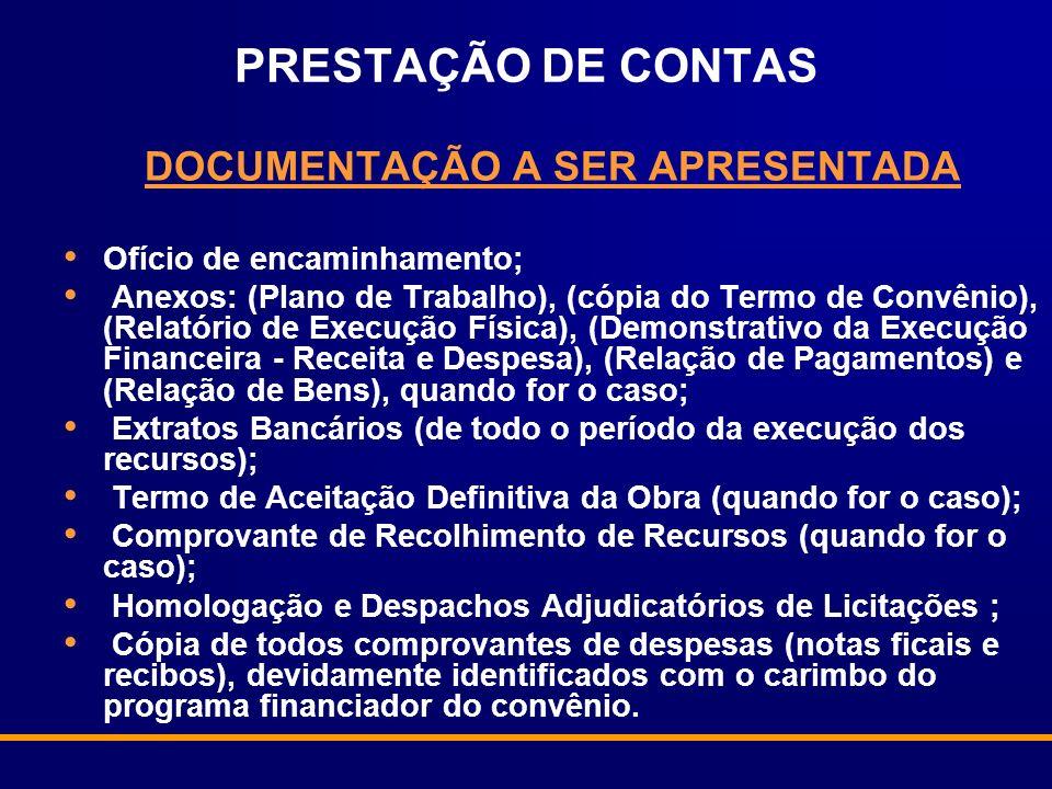 DOCUMENTAÇÃO A SER APRESENTADA