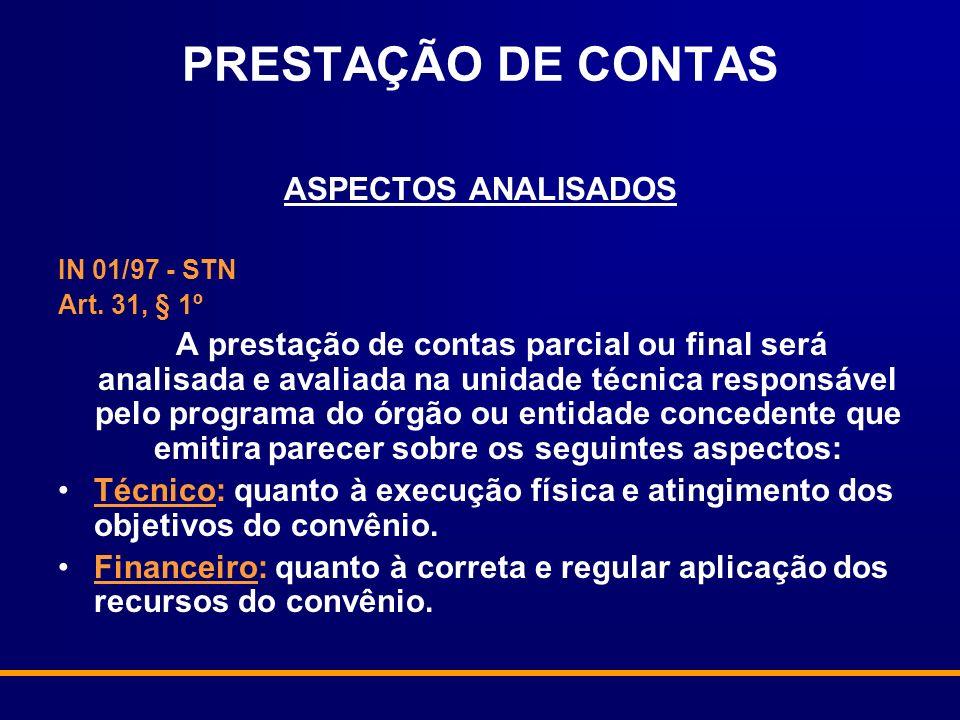 PRESTAÇÃO DE CONTAS ASPECTOS ANALISADOS