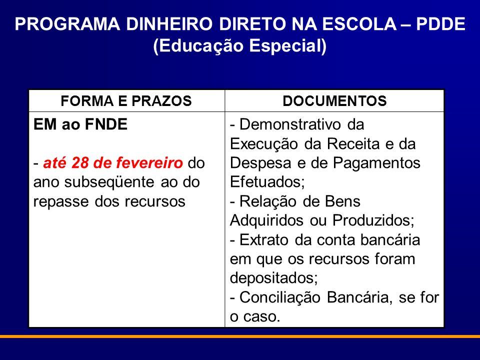 PROGRAMA DINHEIRO DIRETO NA ESCOLA – PDDE (Educação Especial)