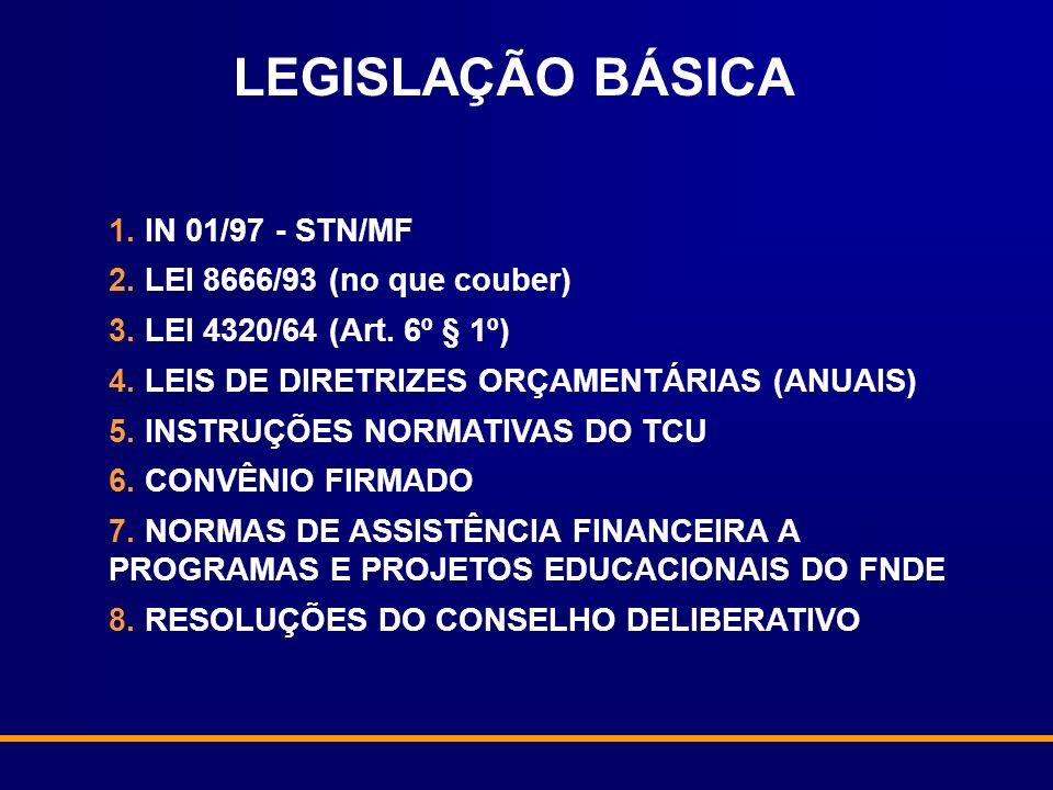 LEGISLAÇÃO BÁSICA 1. IN 01/97 - STN/MF 2. LEI 8666/93 (no que couber)