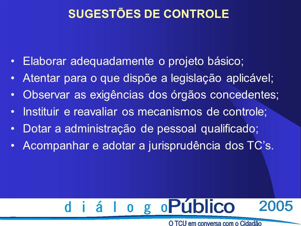 SUGESTÕES DE CONTROLEElaborar adequadamente o projeto básico; Atentar para o que dispõe a legislação aplicável;