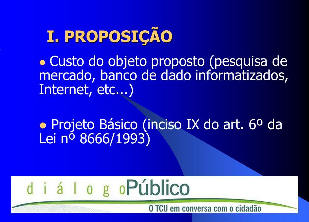 I. PROPOSIÇÃOCusto do objeto proposto (pesquisa de mercado, banco de dado informatizados, Internet, etc...)