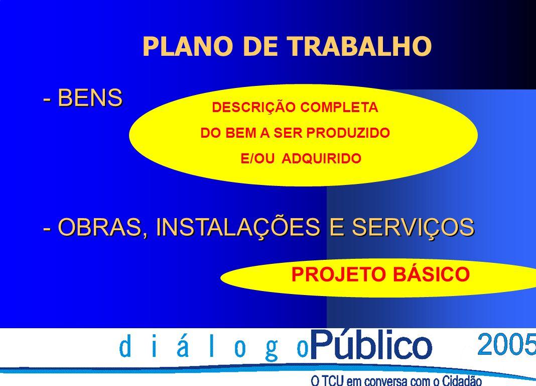 PLANO DE TRABALHO - BENS - BENS - OBRAS, INSTALAÇÕES E SERVIÇOS