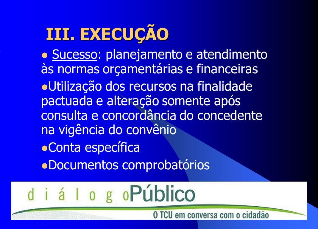 III. EXECUÇÃOSucesso: planejamento e atendimento às normas orçamentárias e financeiras.
