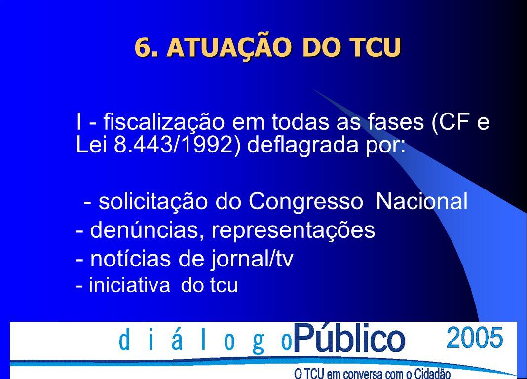 6. ATUAÇÃO DO TCU - solicitação do Congresso Nacional