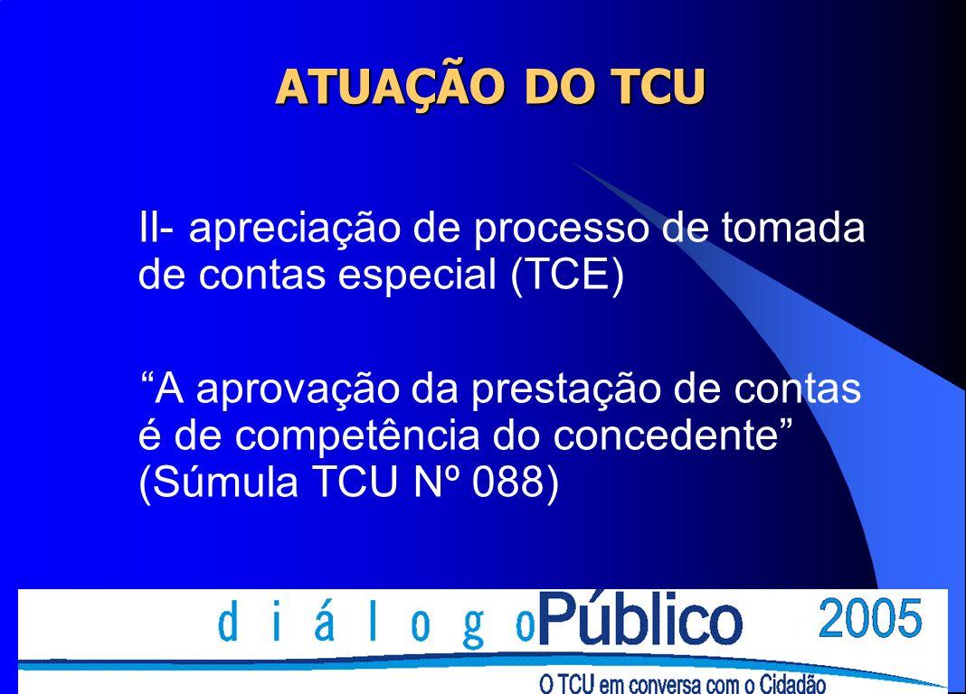 ATUAÇÃO DO TCU II- apreciação de processo de tomada de contas especial (TCE)