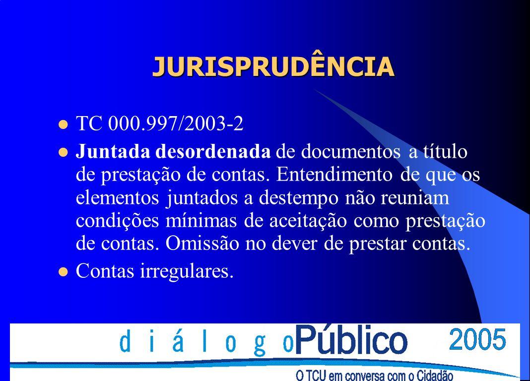 JURISPRUDÊNCIA TC 000.997/2003-2.