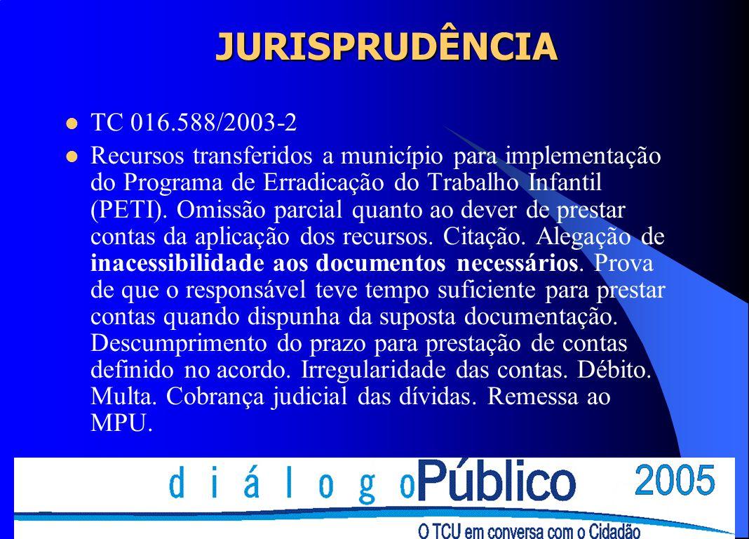 JURISPRUDÊNCIA TC 016.588/2003-2.