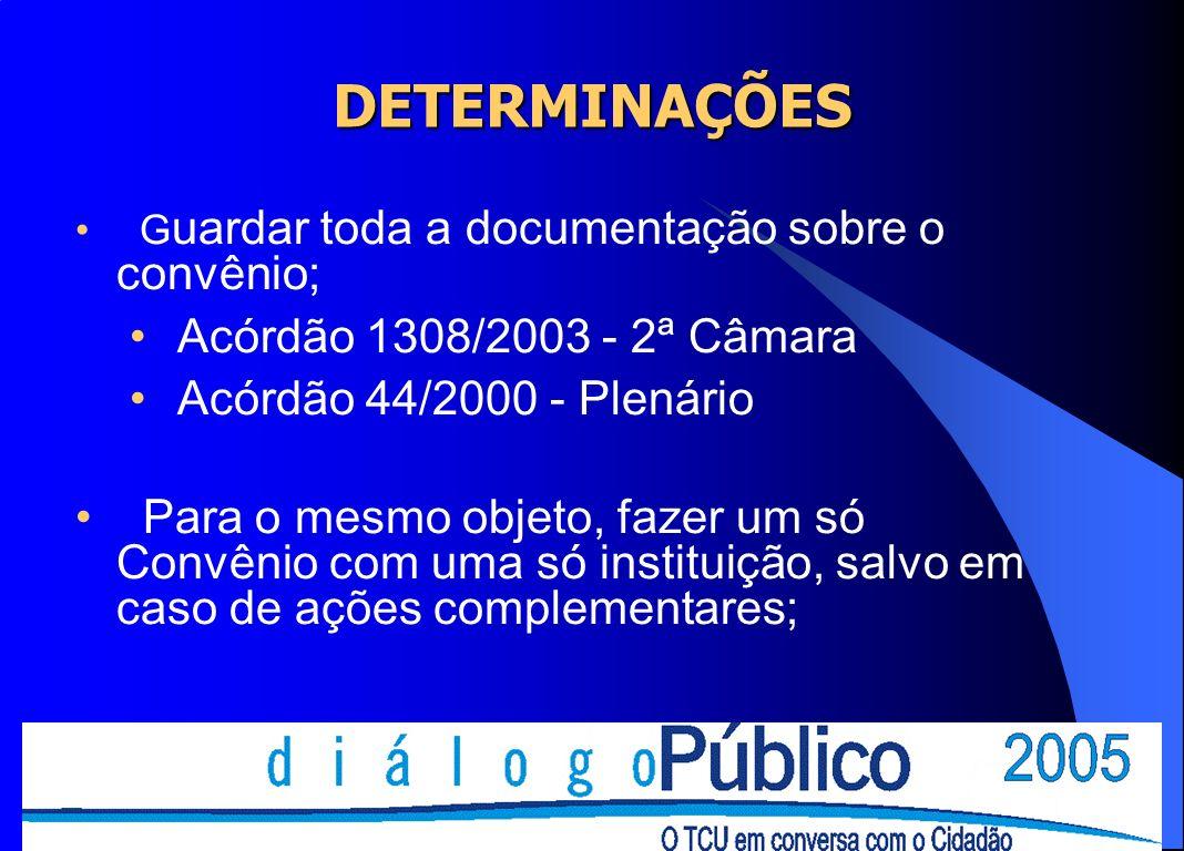 DETERMINAÇÕES Acórdão 1308/2003 - 2ª Câmara Acórdão 44/2000 - Plenário