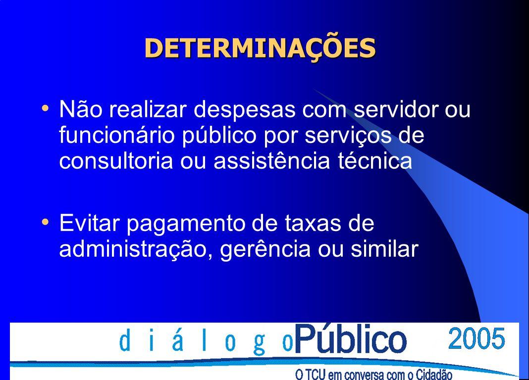 DETERMINAÇÕES Não realizar despesas com servidor ou funcionário público por serviços de consultoria ou assistência técnica.