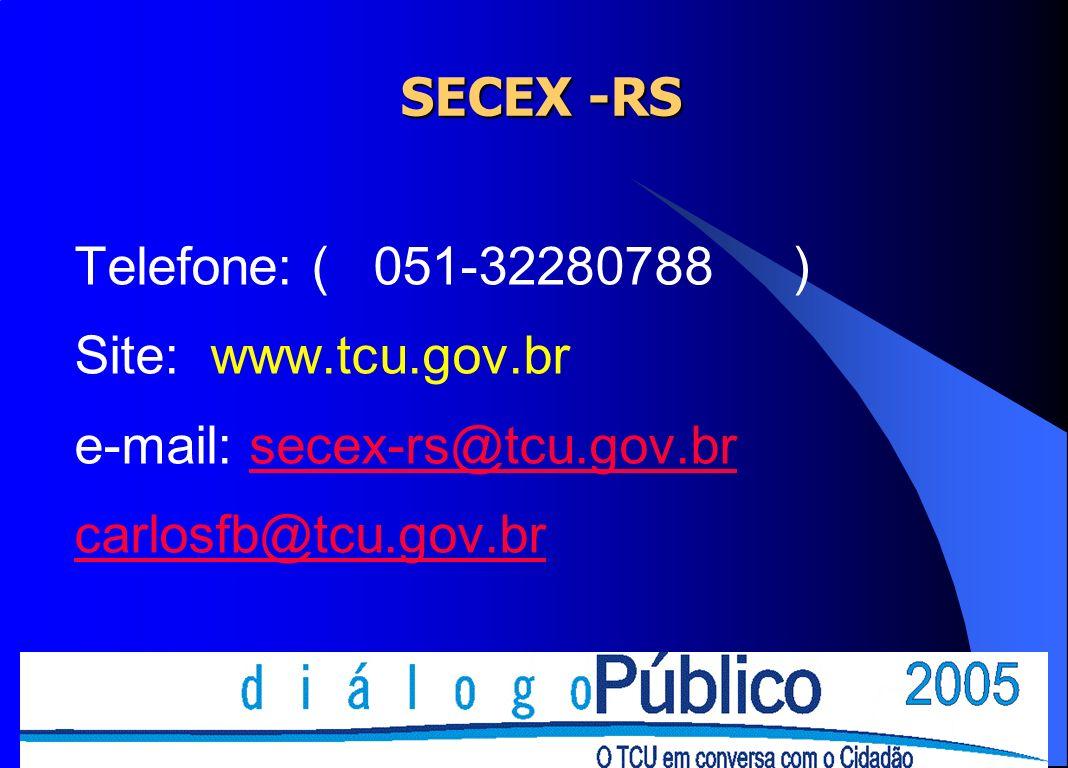 SECEX -RS Telefone: ( 051-32280788 ) Site: www.tcu.gov.br.