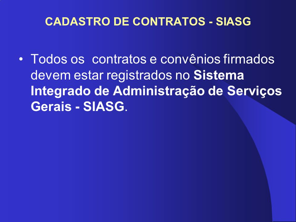 CADASTRO DE CONTRATOS - SIASG