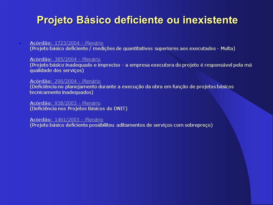 Projeto Básico deficiente ou inexistente