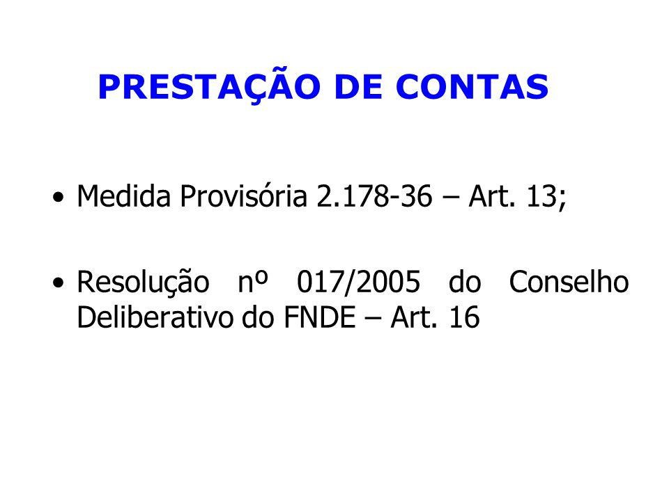 PRESTAÇÃO DE CONTAS Medida Provisória 2.178-36 – Art. 13;