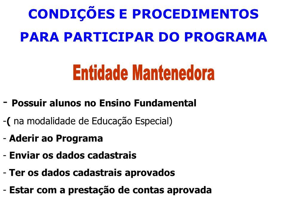 CONDIÇÕES E PROCEDIMENTOS PARA PARTICIPAR DO PROGRAMA