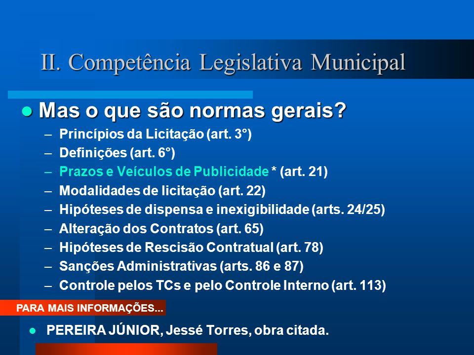 II. Competência Legislativa Municipal