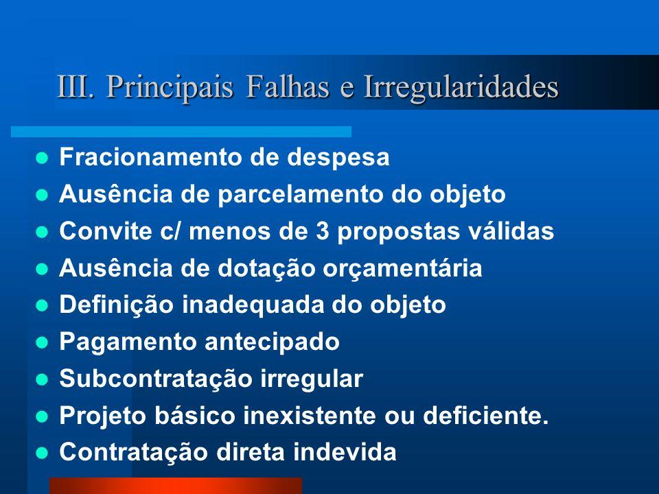 III. Principais Falhas e Irregularidades