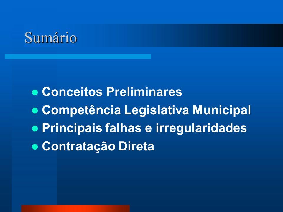 Sumário Conceitos Preliminares Competência Legislativa Municipal