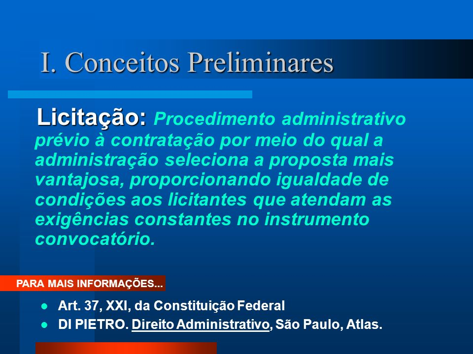 I. Conceitos Preliminares