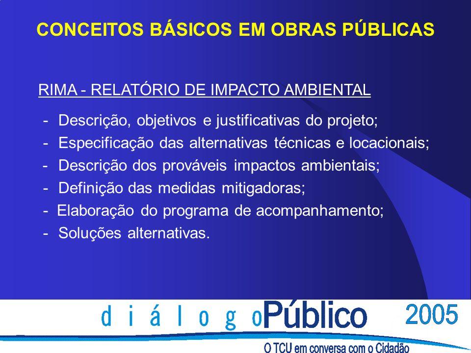 CONCEITOS BÁSICOS EM OBRAS PÚBLICAS
