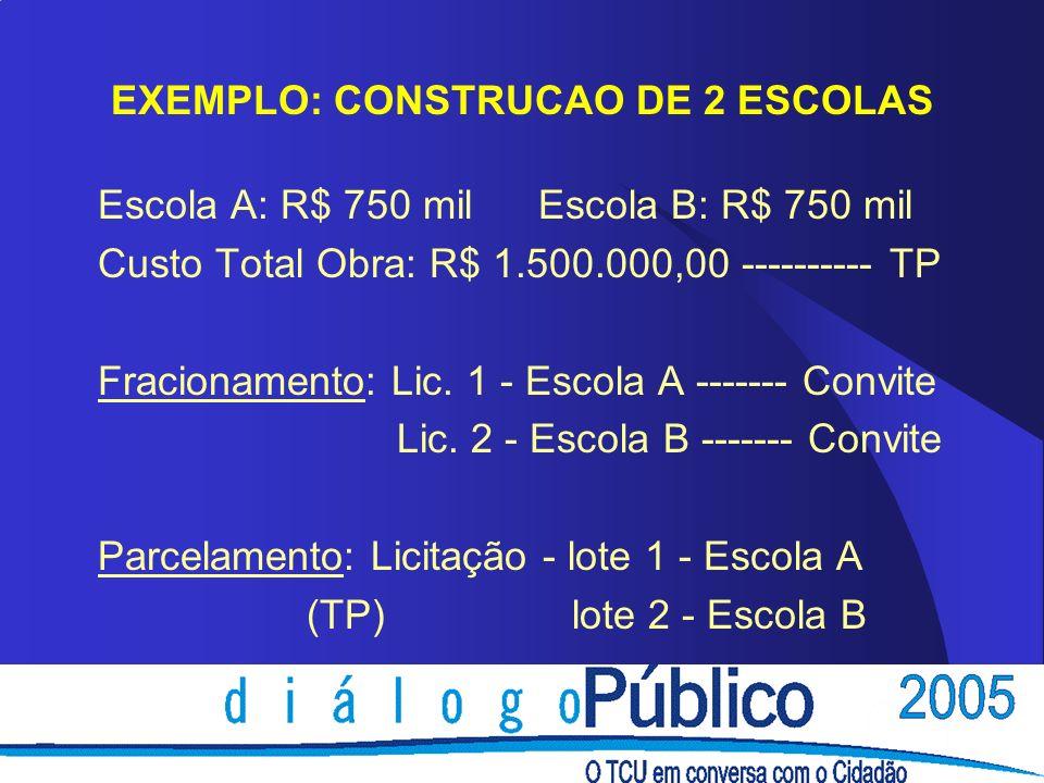 EXEMPLO: CONSTRUCAO DE 2 ESCOLAS