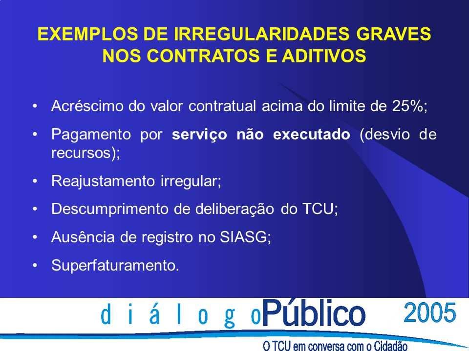 EXEMPLOS DE IRREGULARIDADES GRAVES NOS CONTRATOS E ADITIVOS