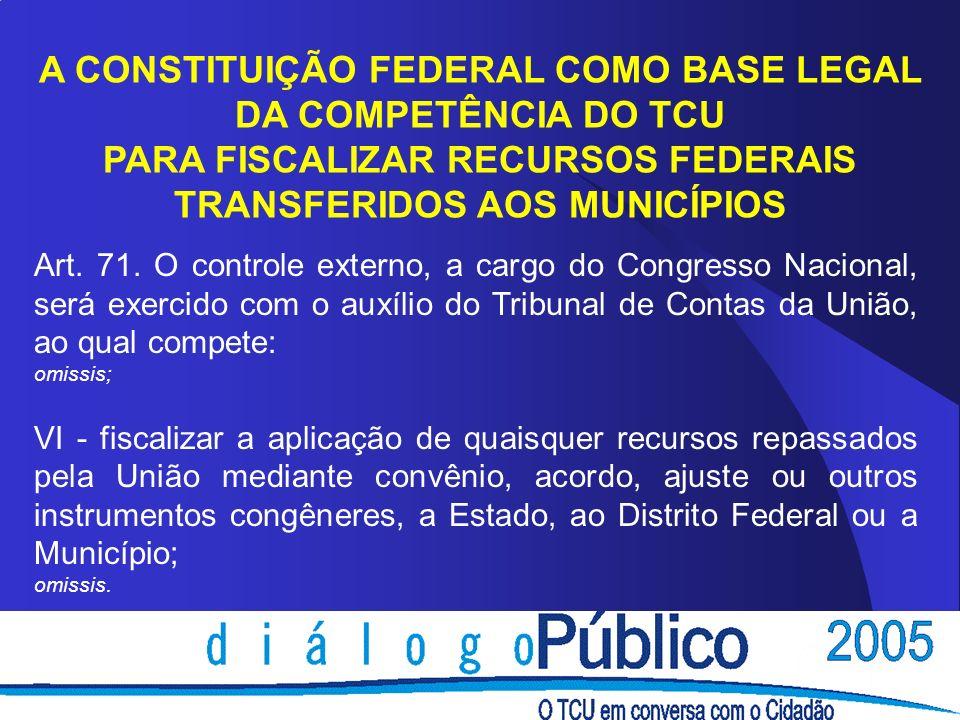 A CONSTITUIÇÃO FEDERAL COMO BASE LEGAL DA COMPETÊNCIA DO TCU PARA FISCALIZAR RECURSOS FEDERAIS TRANSFERIDOS AOS MUNICÍPIOS