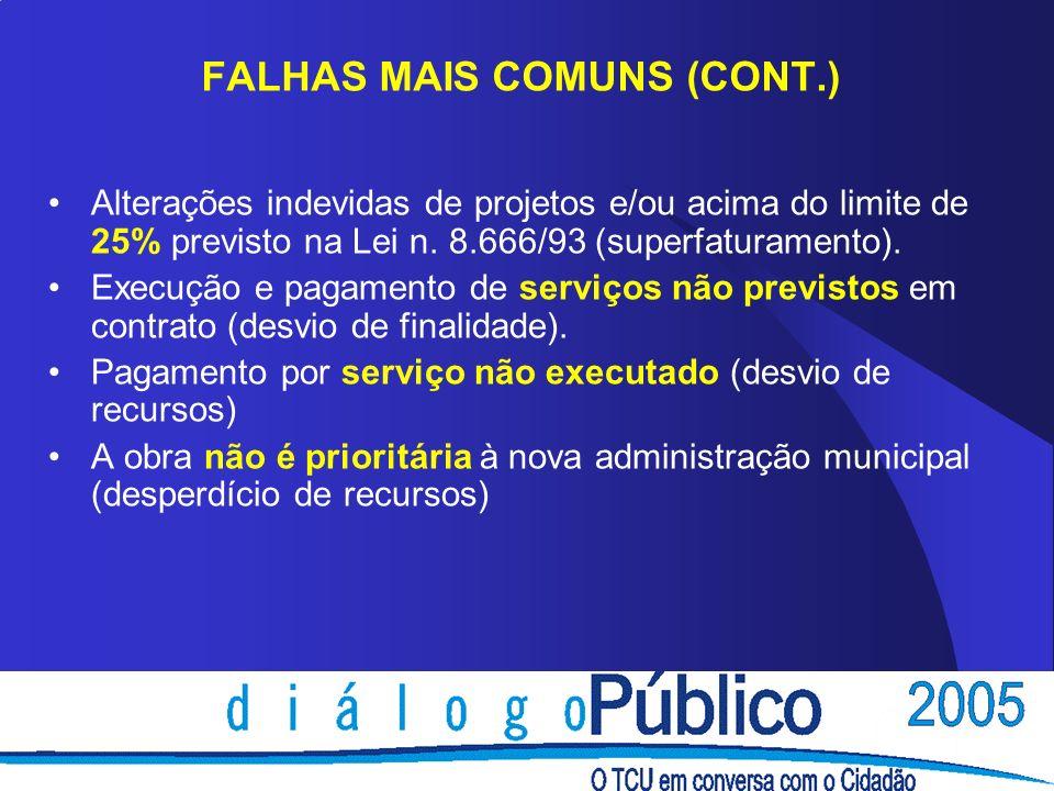 FALHAS MAIS COMUNS (CONT.)