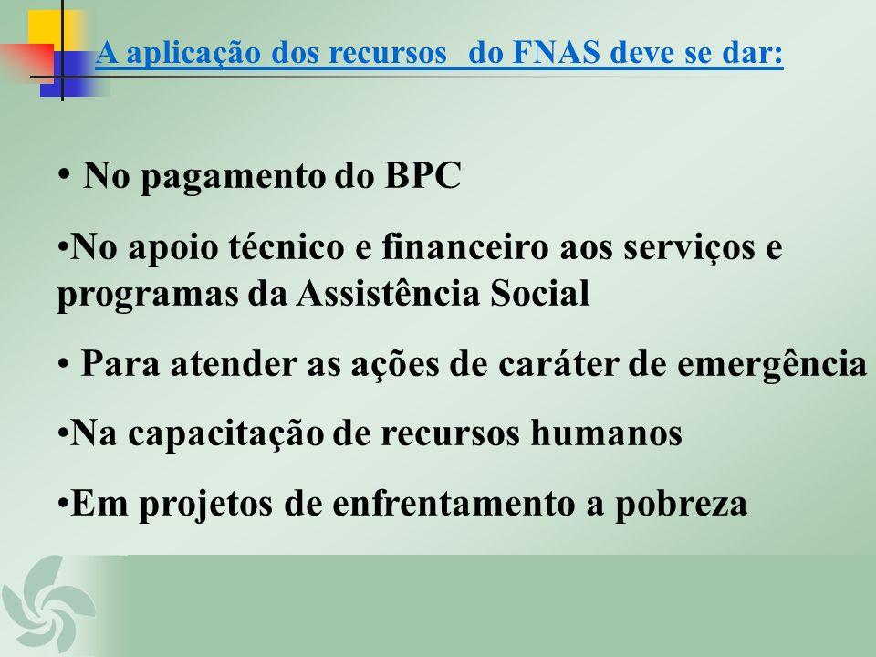 A aplicação dos recursos do FNAS deve se dar: