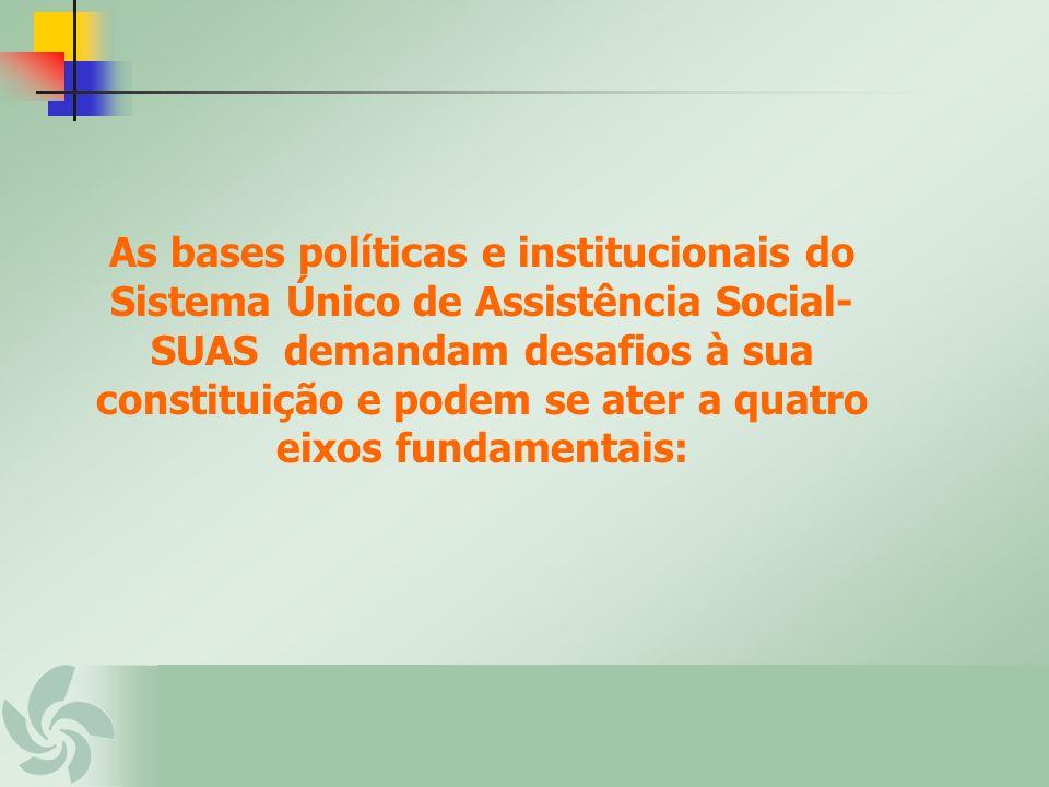 As bases políticas e institucionais do Sistema Único de Assistência Social-SUAS demandam desafios à sua constituição e podem se ater a quatro eixos fundamentais: