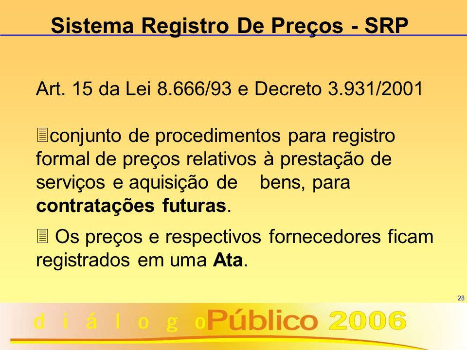 Sistema Registro De Preços - SRP