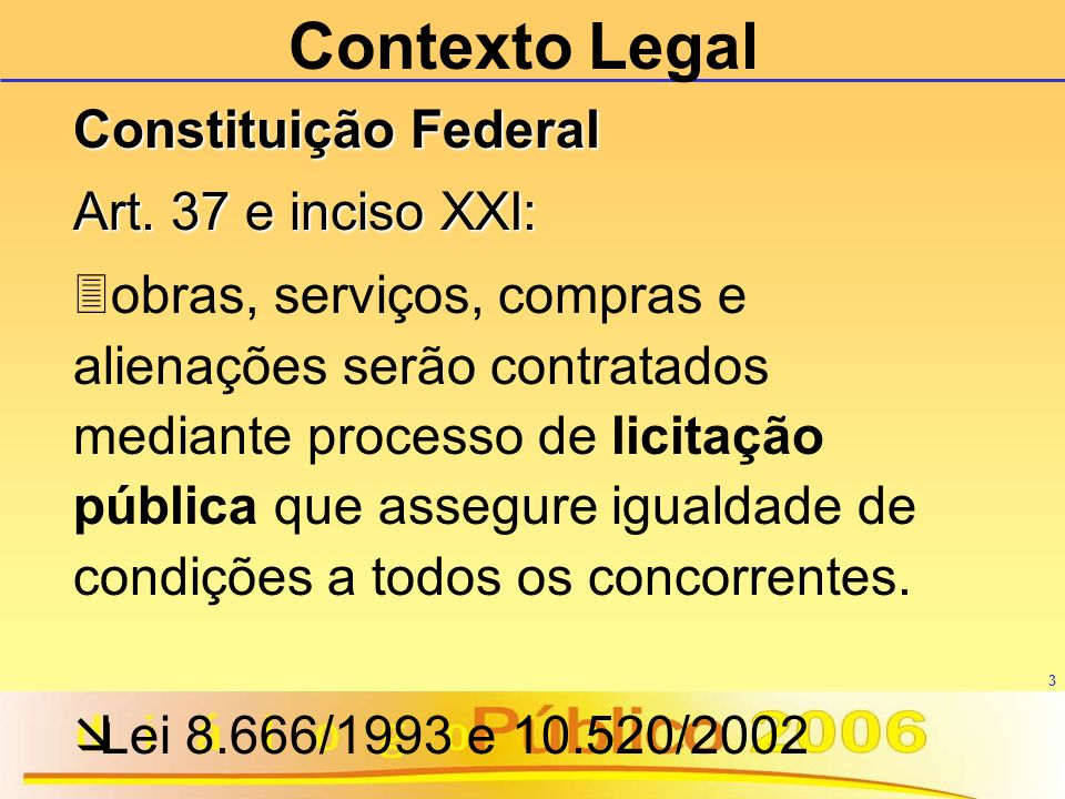 Contexto Legal Constituição Federal Art. 37 e inciso XXI: