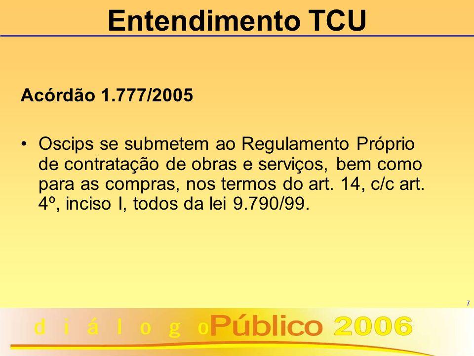 Entendimento TCU Acórdão 1.777/2005