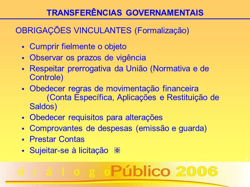 OBRIGAÇÕES VINCULANTES (Formalização)