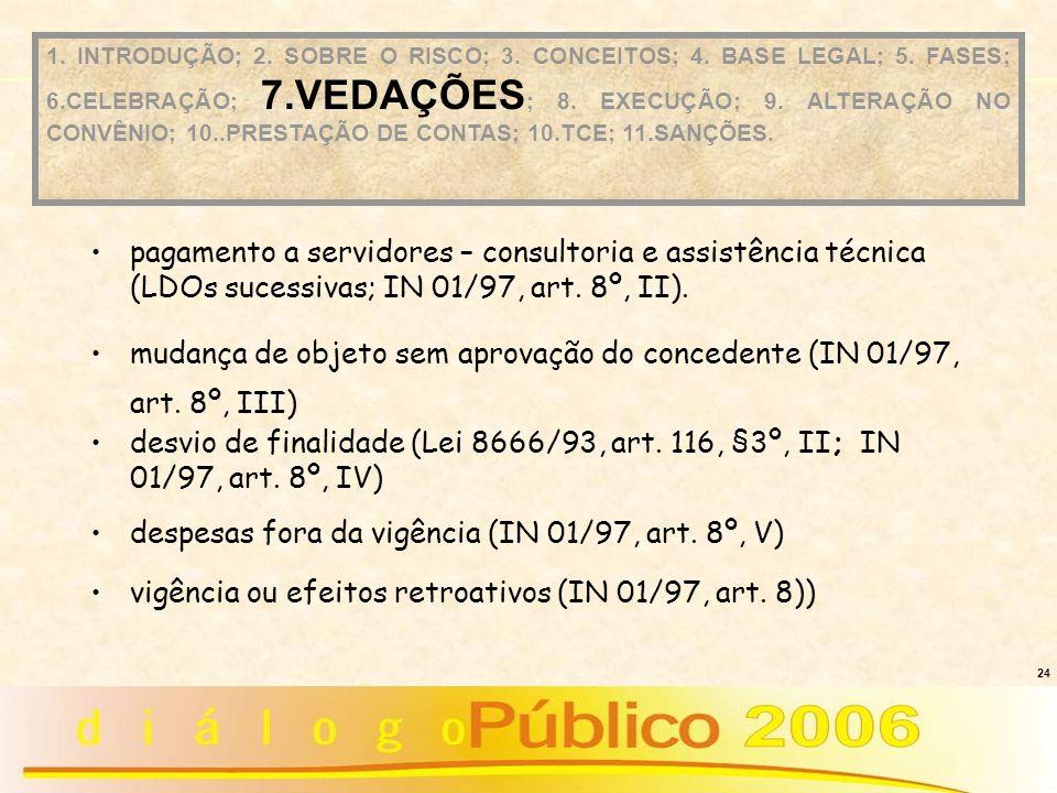 mudança de objeto sem aprovação do concedente (IN 01/97, art. 8º, III)