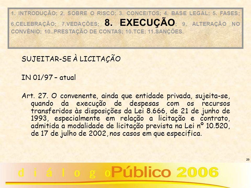 SUJEITAR-SE À LICITAÇÃO IN 01/97 – atual