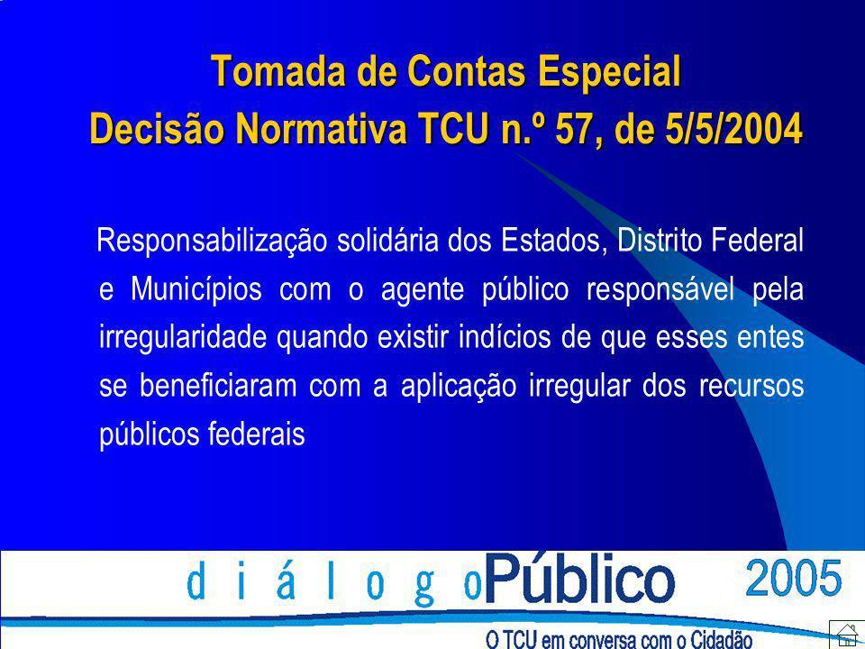 Tomada de Contas Especial Decisão Normativa TCU n.º 57, de 5/5/2004