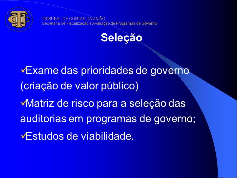 Seleção Exame das prioridades de governo (criação de valor público)