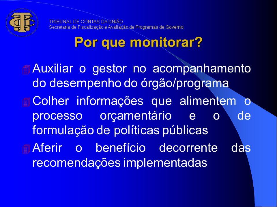 Por que monitorar TRIBUNAL DE CONTAS DA UNIÃO. Secretaria de Fiscalização e Avaliação de Programas de Governo.