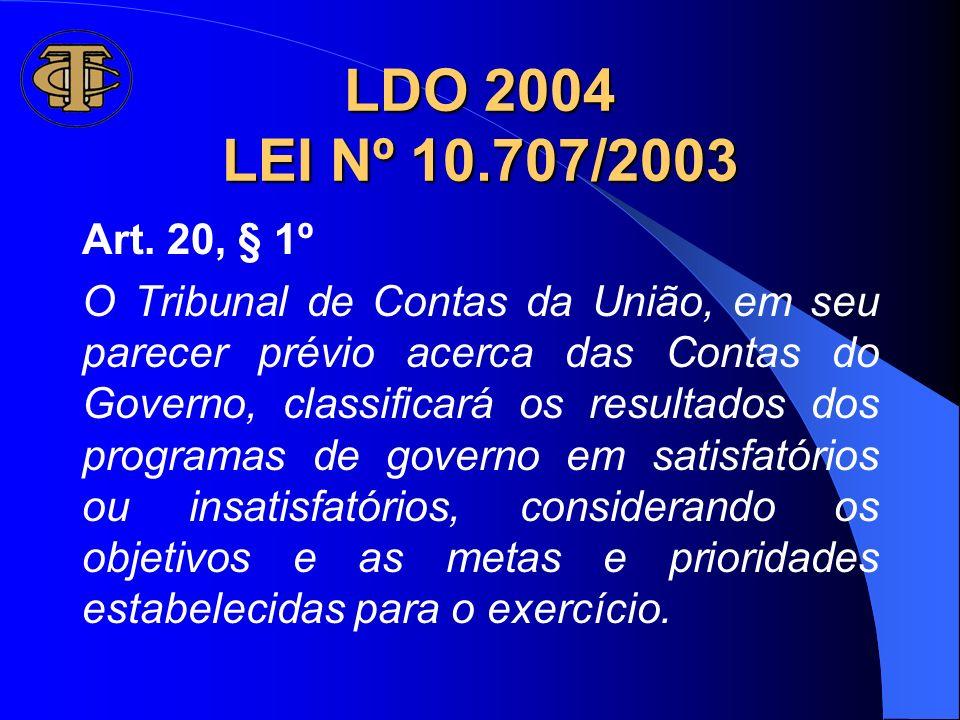 LDO 2004 LEI Nº 10.707/2003 Art. 20, § 1º.