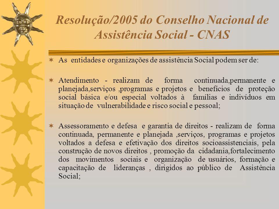 Resolução/2005 do Conselho Nacional de Assistência Social - CNAS