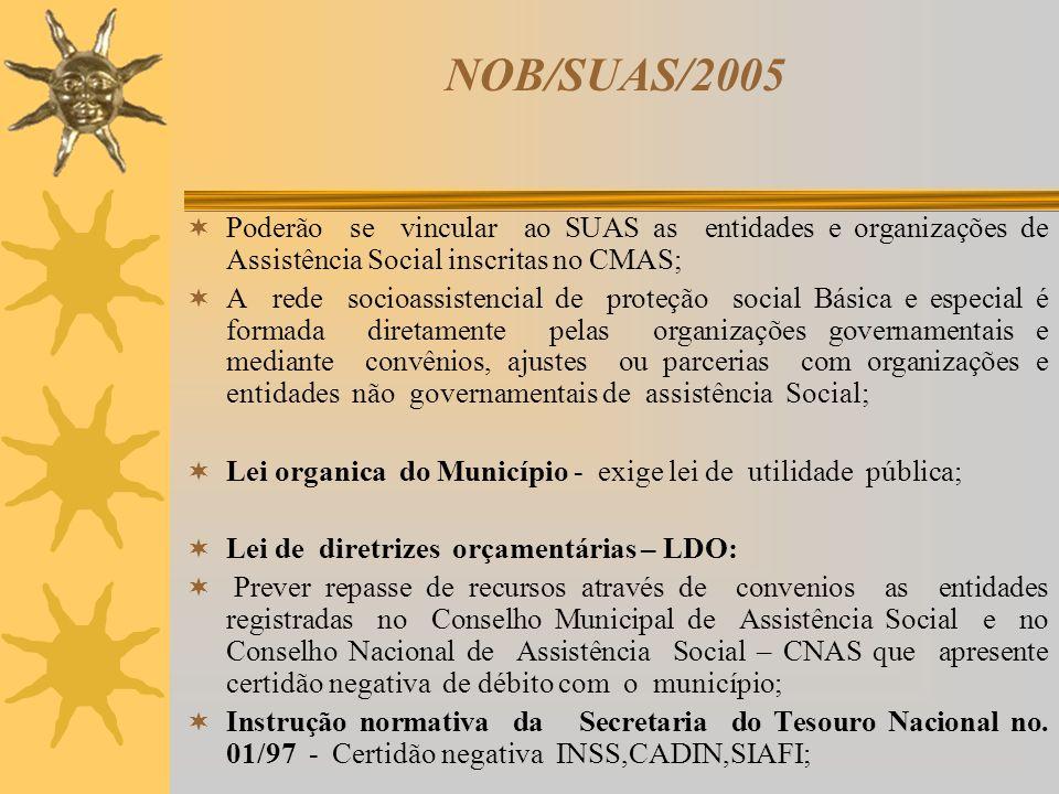 NOB/SUAS/2005 Poderão se vincular ao SUAS as entidades e organizações de Assistência Social inscritas no CMAS;