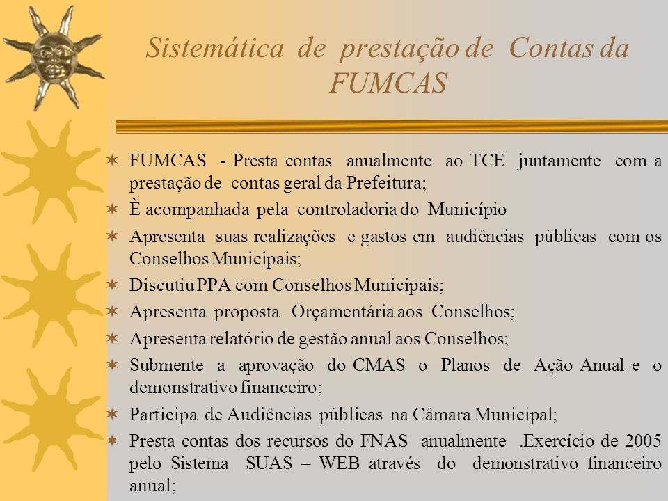 Sistemática de prestação de Contas da FUMCAS
