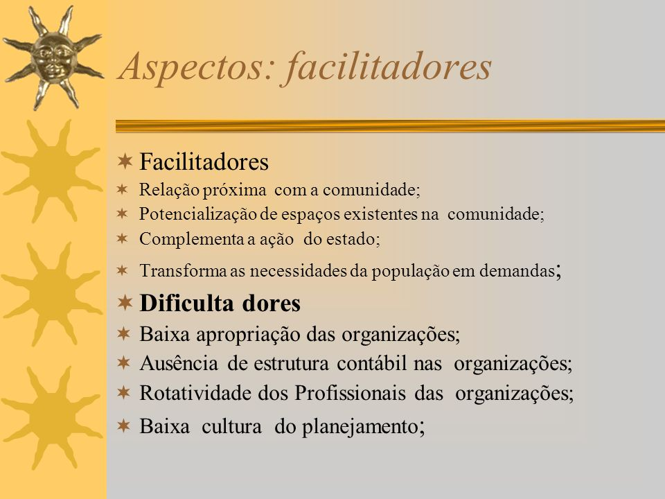 Aspectos: facilitadores