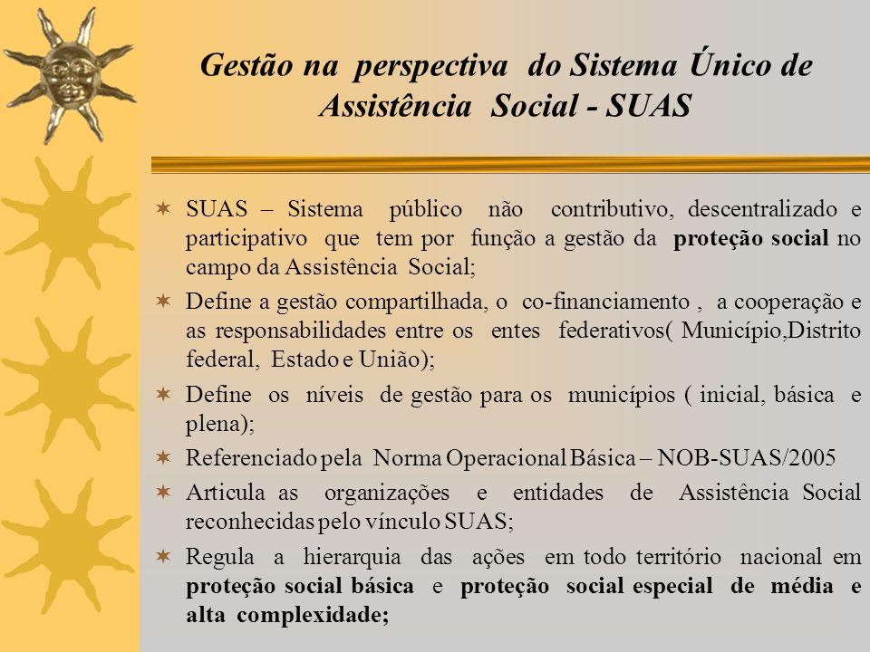 Gestão na perspectiva do Sistema Único de Assistência Social - SUAS