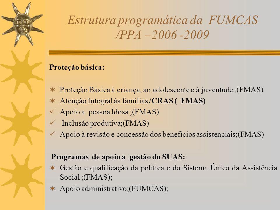 Estrutura programática da FUMCAS /PPA –2006 -2009