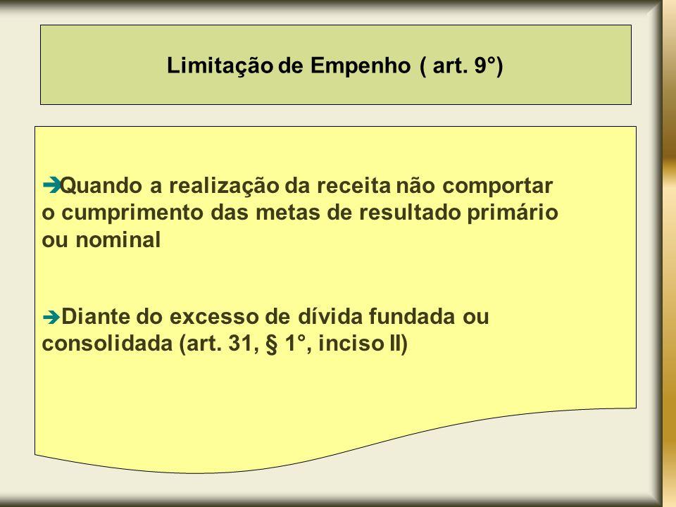 Limitação de Empenho ( art. 9°)