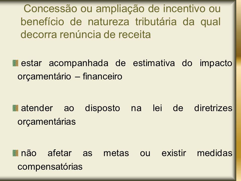 Concessão ou ampliação de incentivo ou benefício de natureza tributária da qual decorra renúncia de receita