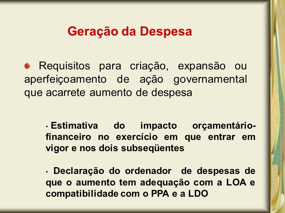 Geração da Despesa Requisitos para criação, expansão ou aperfeiçoamento de ação governamental que acarrete aumento de despesa.